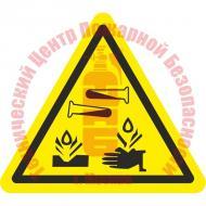 Знак Опасно. Едкие и коррозионные вещества W 04 Артикул 724113