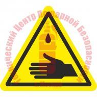 Знак Осторожно. Возможное попадание ядовитых веществ на кожу рук W 21 Артикул 724130